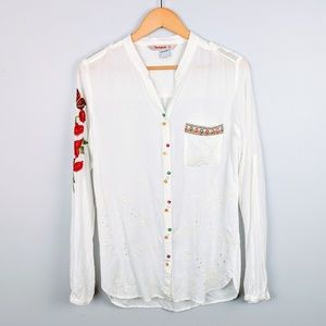 Desigual Floral Embroidered Button Down Top